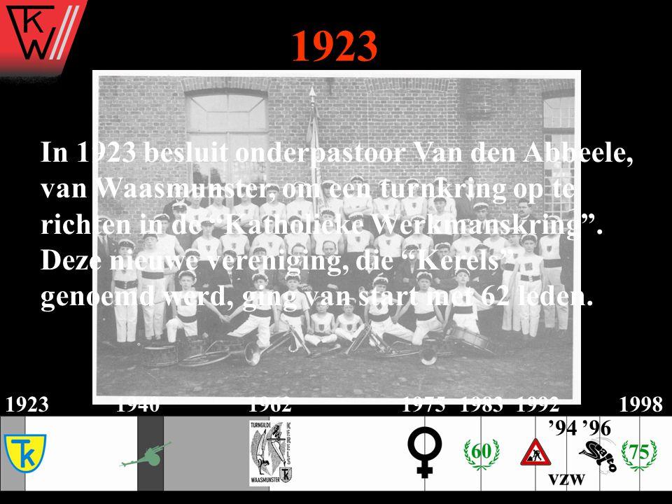 """1923194019621975198319921998 In 1923 besluit onderpastoor Van den Abbeele, van Waasmunster, om een turnkring op te richten in de """"Katholieke Werkmansk"""