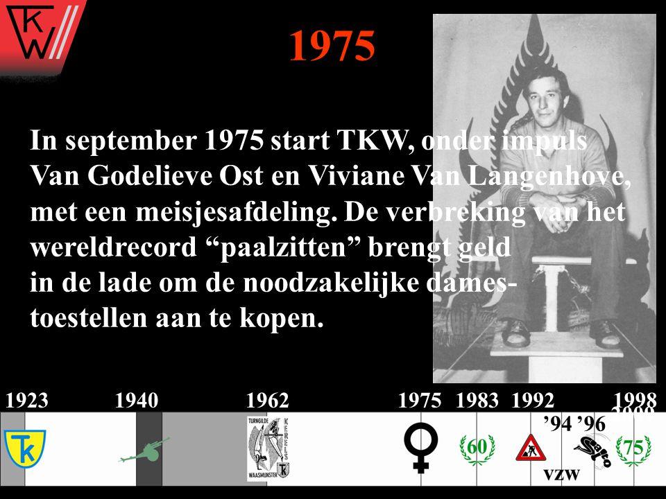 1975 In september 1975 start TKW, onder impuls Van Godelieve Ost en Viviane Van Langenhove, met een meisjesafdeling. De verbreking van het wereldrecor