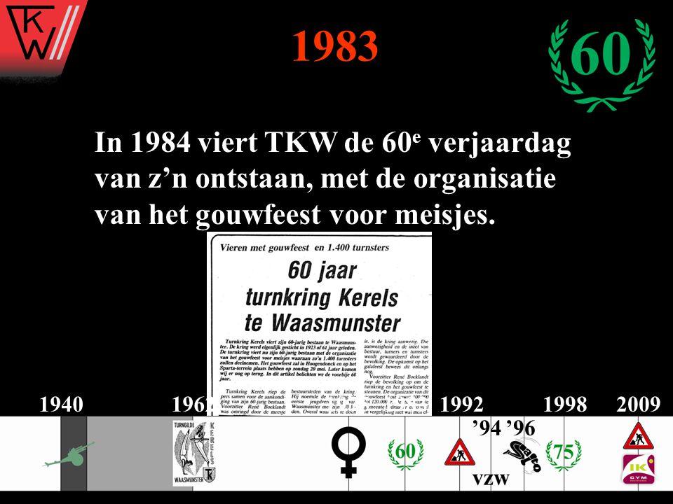 1983 In 1984 viert TKW de 60 e verjaardag van z'n ontstaan, met de organisatie van het gouwfeest voor meisjes. 2009194019621975198319921998 '96'94