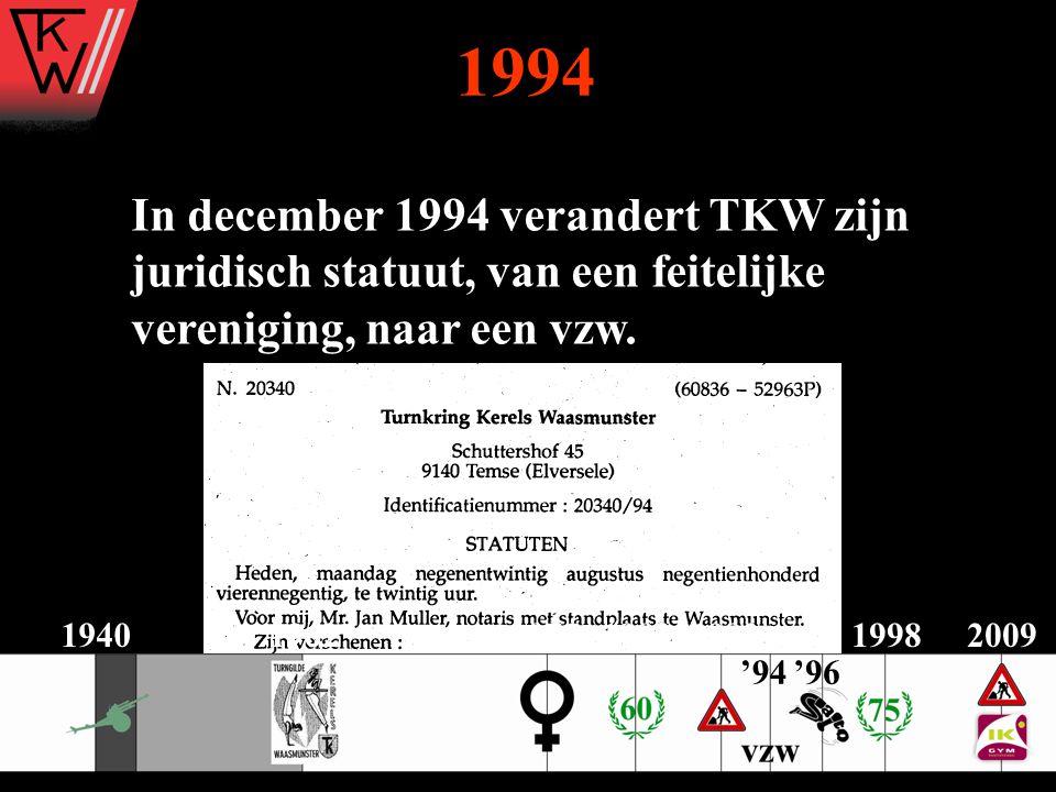 1994 In december 1994 verandert TKW zijn juridisch statuut, van een feitelijke vereniging, naar een vzw. 2009194019621975198319921998 '96'94