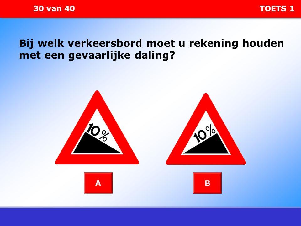 30 van 40 TOETS 1 Bij welk verkeersbord moet u rekening houden met een gevaarlijke daling?