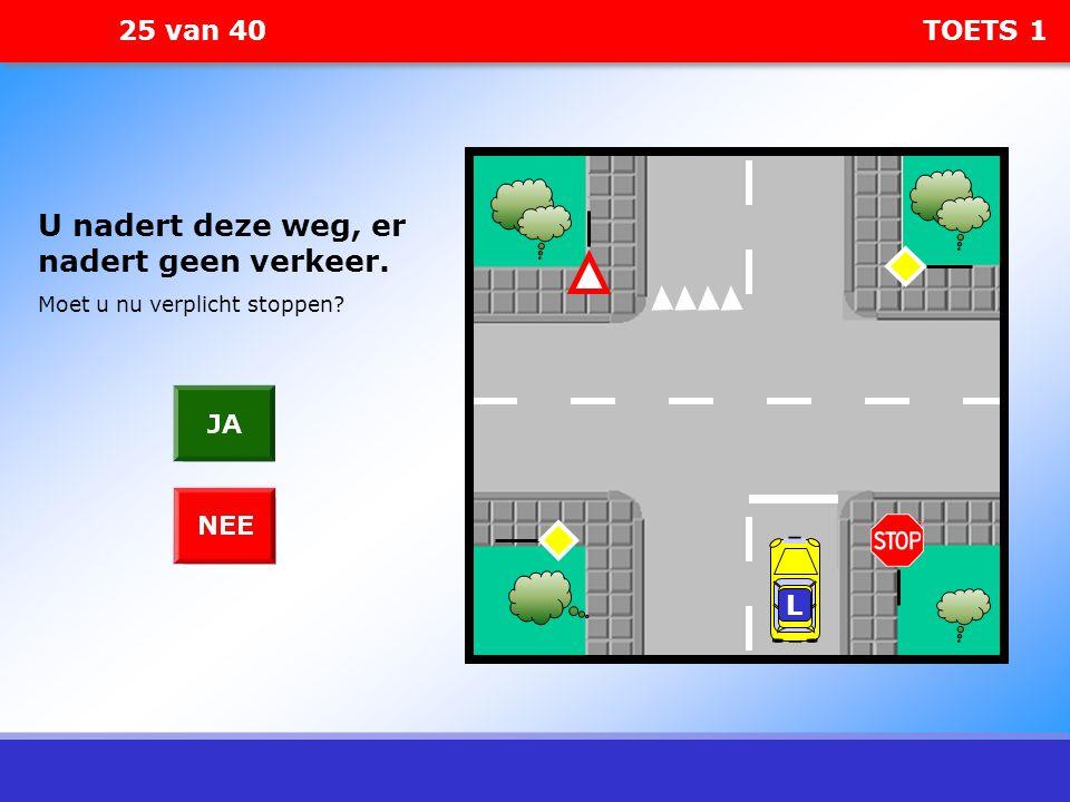 25 van 40 TOETS 1 L U nadert deze weg, er nadert geen verkeer. Moet u nu verplicht stoppen?