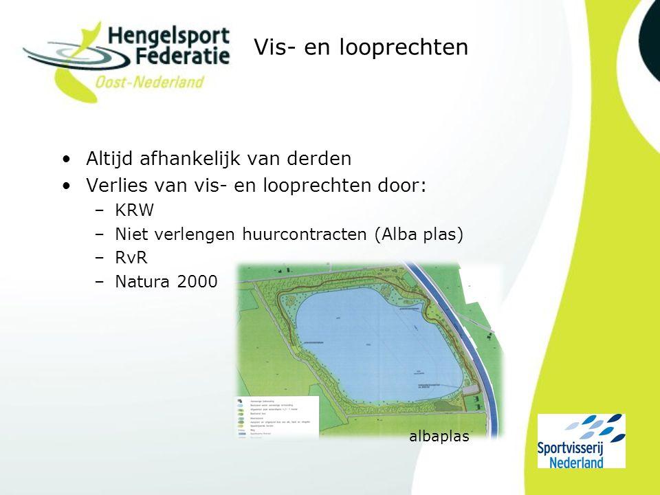 Vis- en looprechten Altijd afhankelijk van derden Verlies van vis- en looprechten door: –KRW –Niet verlengen huurcontracten (Alba plas) –RvR –Natura 2000 albaplas