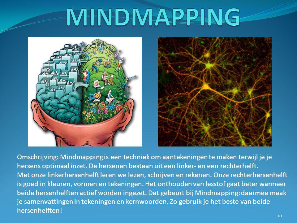Omschrijving: Mindmapping is een techniek om aantekeningen te maken terwijl je je hersens optimaal inzet. De hersenen bestaan uit een linker- en een r