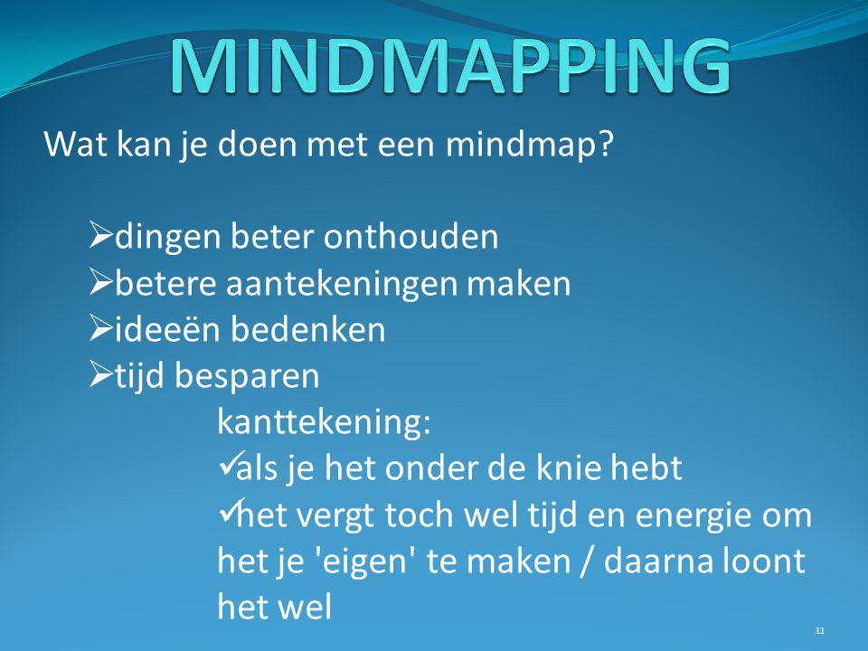 Wat kan je doen met een mindmap?  dingen beter onthouden  betere aantekeningen maken  ideeën bedenken  tijd besparen kanttekening: als je het onde