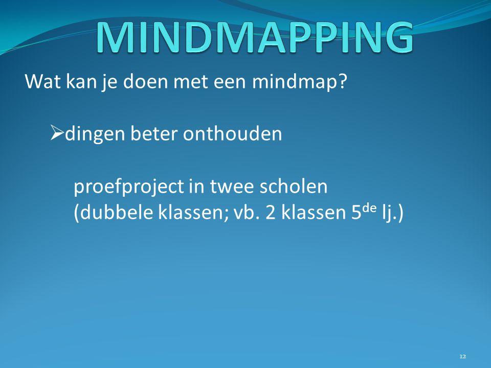 Wat kan je doen met een mindmap?  dingen beter onthouden proefproject in twee scholen (dubbele klassen; vb. 2 klassen 5 de lj.) 12