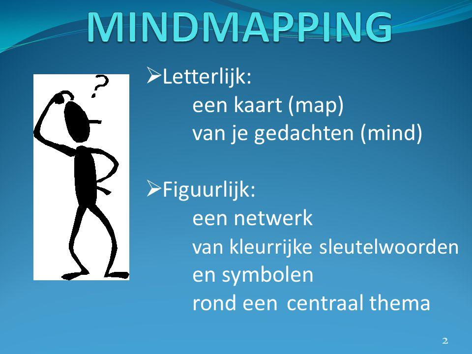  Letterlijk: een kaart (map) van je gedachten (mind)  Figuurlijk: een netwerk van kleurrijke sleutelwoorden en symbolen rond eencentraal thema 2