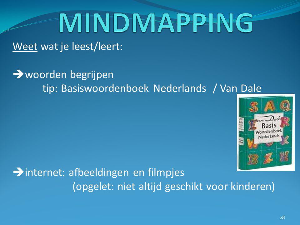 Weet wat je leest/leert:  woorden begrijpen tip: Basiswoordenboek Nederlands / Van Dale  internet: afbeeldingen en filmpjes (opgelet: niet altijd ge