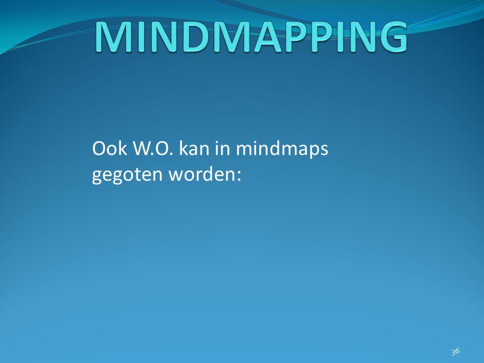 Ook W.O. kan in mindmaps gegoten worden: 36