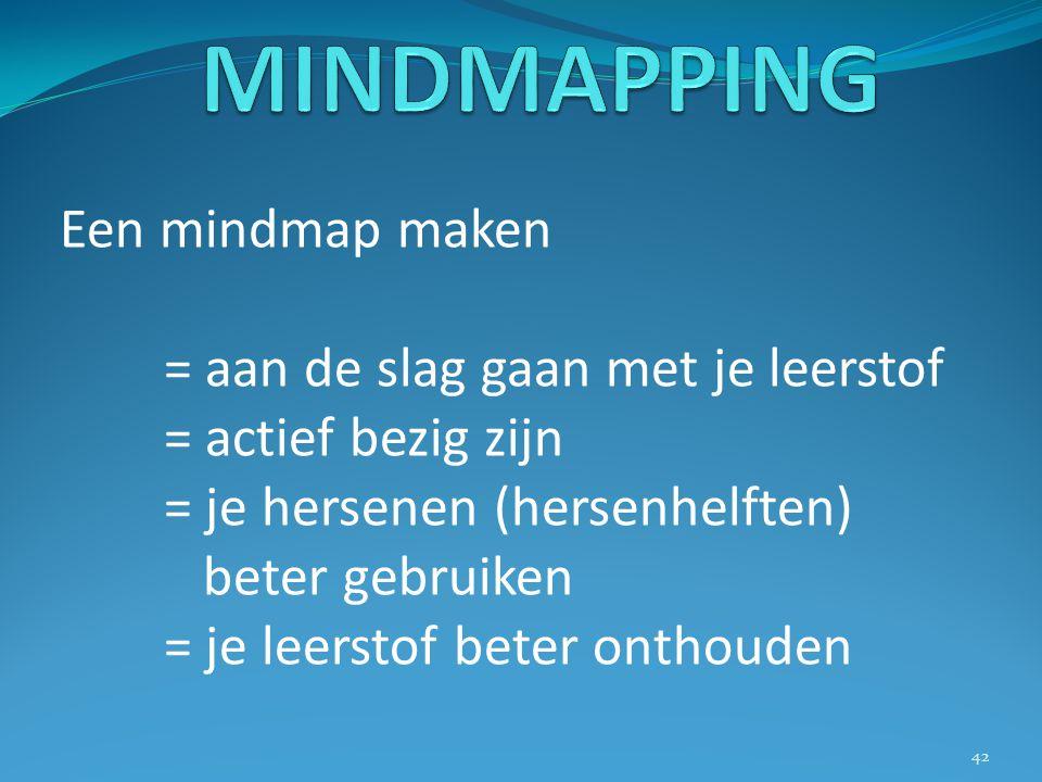 Een mindmap maken = aan de slag gaan met je leerstof = actief bezig zijn = je hersenen (hersenhelften) beter gebruiken = je leerstof beter onthouden 4