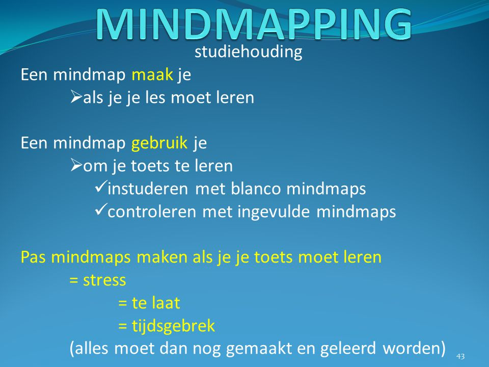 studiehouding Een mindmap maak je  als je je les moet leren Een mindmap gebruik je  om je toets te leren instuderen met blanco mindmaps controleren