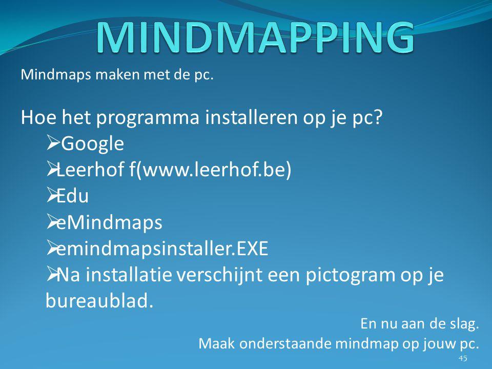 Mindmaps maken met de pc. Hoe het programma installeren op je pc?  Google  Leerhof f(www.leerhof.be)  Edu  eMindmaps  emindmapsinstaller.EXE  Na