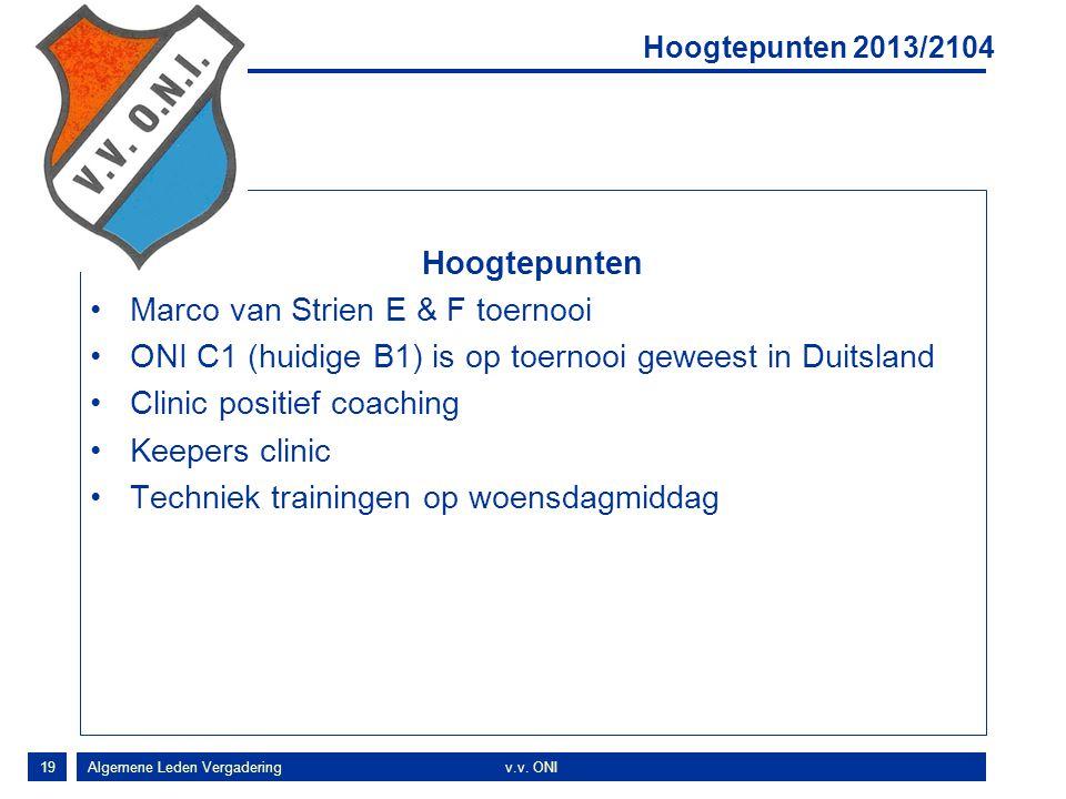 19 Hoogtepunten Marco van Strien E & F toernooi ONI C1 (huidige B1) is op toernooi geweest in Duitsland Clinic positief coaching Keepers clinic Techniek trainingen op woensdagmiddag Hoogtepunten 2013/2104 Algemene Leden Vergaderingv.v.