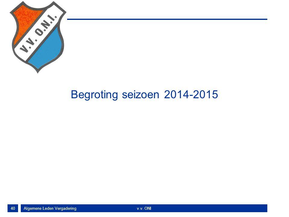 40 Begroting seizoen 2014-2015 Algemene Leden Vergaderingv.v. ONI