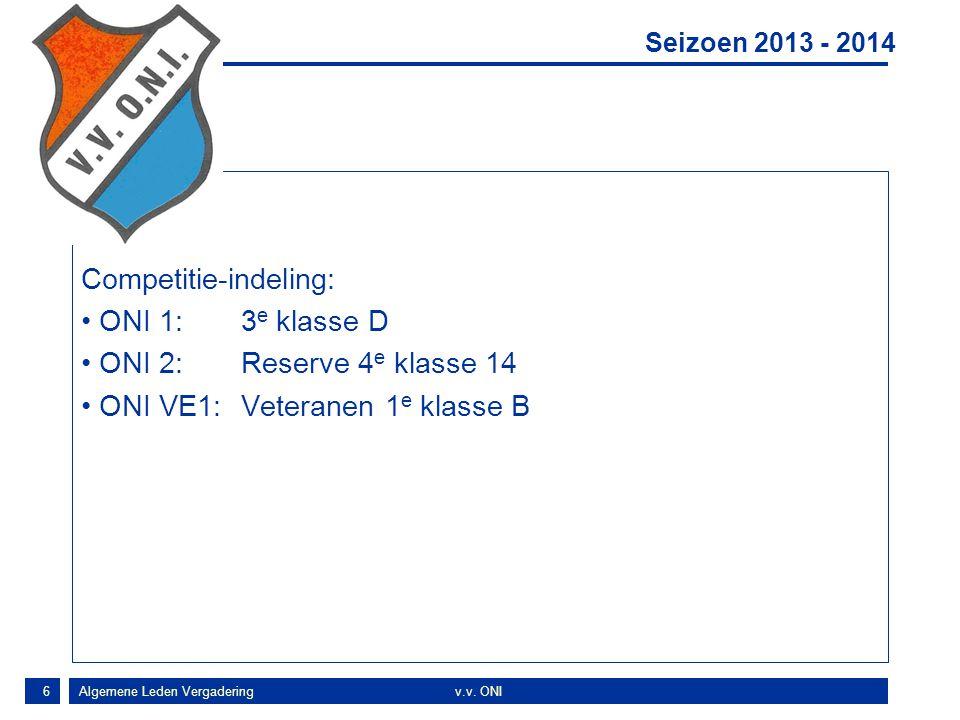 6 Concl Competitie-indeling: ONI 1:3 e klasse D ONI 2:Reserve 4 e klasse 14 ONI VE1:Veteranen 1 e klasse B Seizoen 2013 - 2014 Algemene Leden Vergaderingv.v.