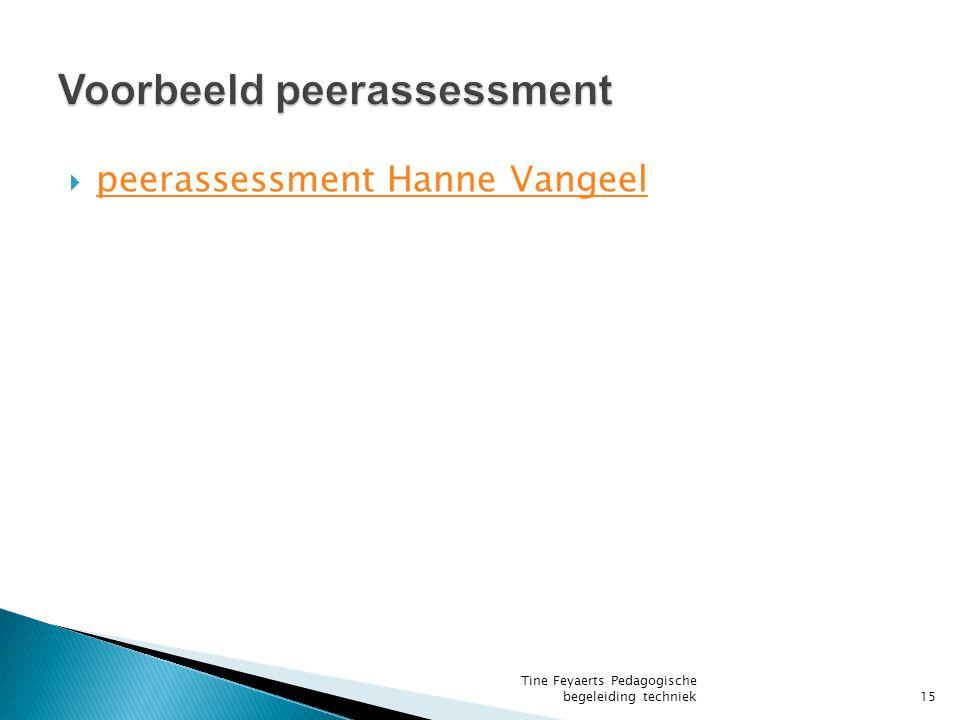  peerassessment Hanne Vangeel peerassessment Hanne Vangeel Tine Feyaerts Pedagogische begeleiding techniek15