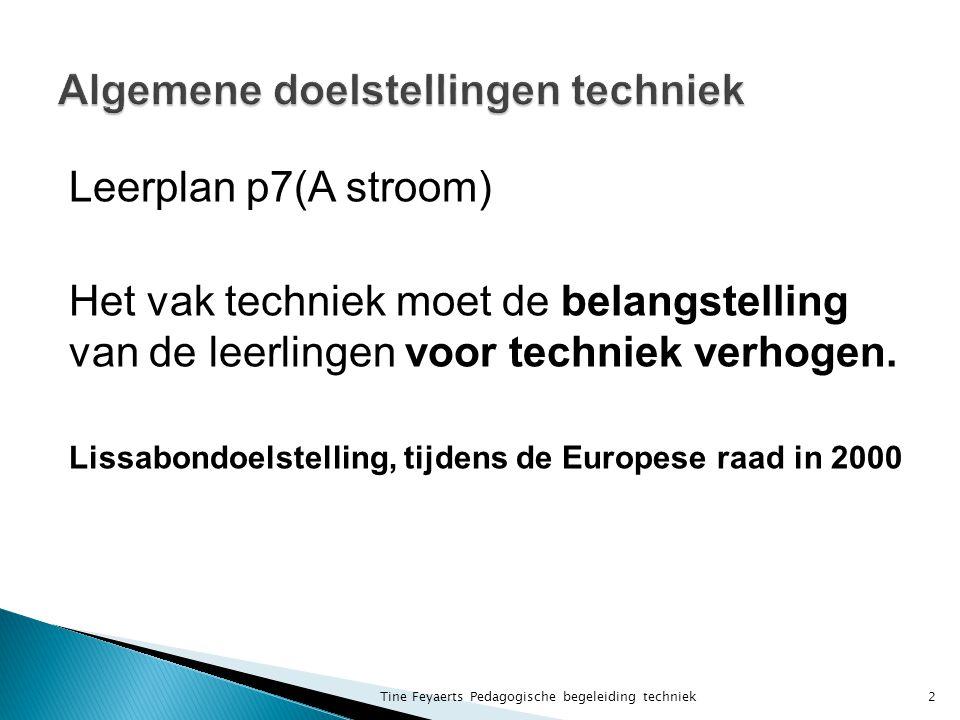 Leerplan p7(A stroom) Het vak techniek moet de belangstelling van de leerlingen voor techniek verhogen.