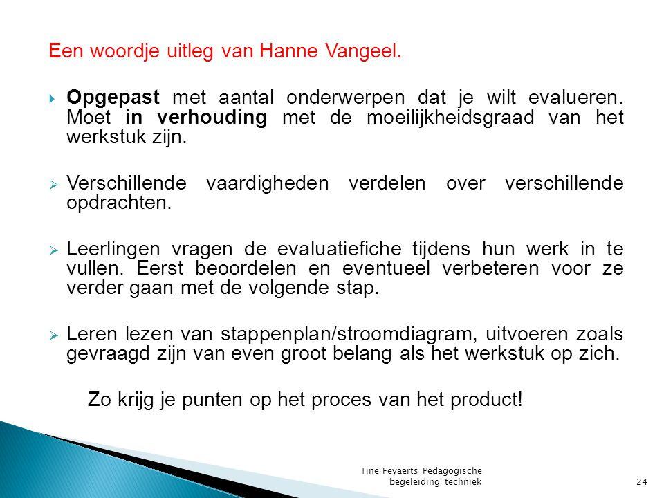 Een woordje uitleg van Hanne Vangeel. Opgepast met aantal onderwerpen dat je wilt evalueren.