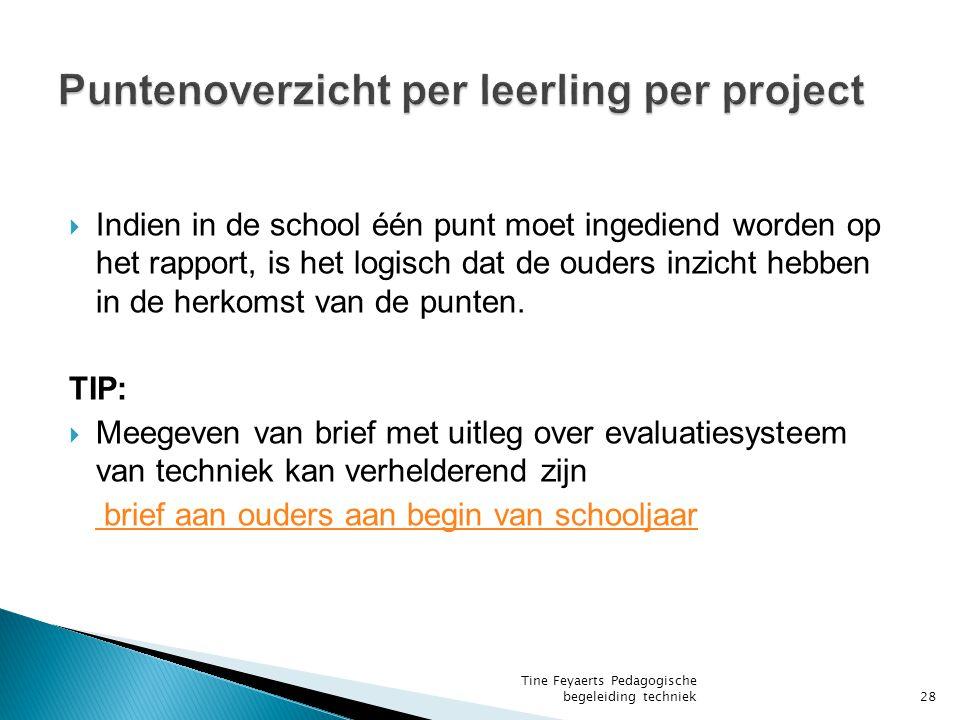  Indien in de school één punt moet ingediend worden op het rapport, is het logisch dat de ouders inzicht hebben in de herkomst van de punten.