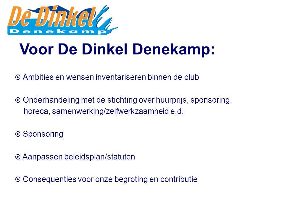 Voor De Dinkel Denekamp:  Ambities en wensen inventariseren binnen de club  Onderhandeling met de stichting over huurprijs, sponsoring, horeca, samenwerking/zelfwerkzaamheid e.d.
