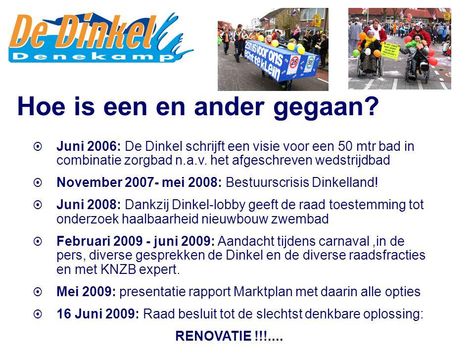  Juni 2006: De Dinkel schrijft een visie voor een 50 mtr bad in combinatie zorgbad n.a.v. het afgeschreven wedstrijdbad  November 2007- mei 2008: Be