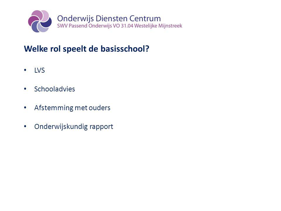 Welke rol speelt de basisschool? LVS Schooladvies Afstemming met ouders Onderwijskundig rapport