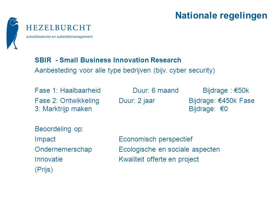SBIR - Small Business Innovation Research Aanbesteding voor alle type bedrijven (bijv.