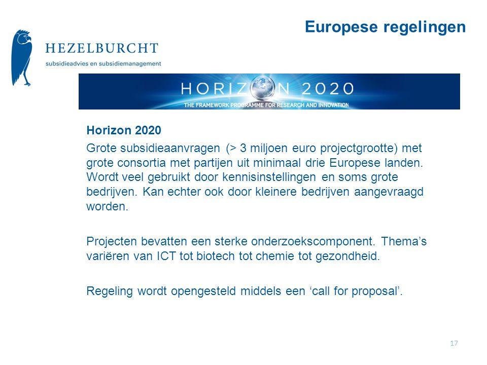 Horizon 2020 Grote subsidieaanvragen (> 3 miljoen euro projectgrootte) met grote consortia met partijen uit minimaal drie Europese landen.