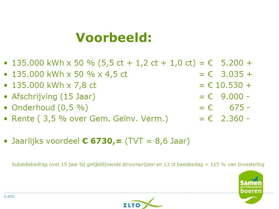 Voorbeeld: 135.000 kWh x 50 % (5,5 ct + 1,2 ct + 1,0 ct) = € 5.200 + 135.000 kWh x 50 % x 4,5 ct= € 3.035 + 135.000 kWh x 7,8 ct= € 10.530 + Afschrijving (15 Jaar)= € 9.000 - Onderhoud (0,5 %)= € 675 - Rente ( 3,5 % over Gem.