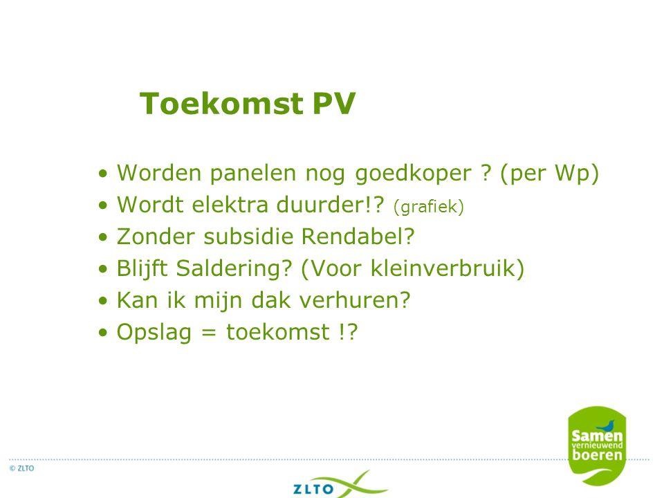 Toekomst PV Worden panelen nog goedkoper ? (per Wp) Wordt elektra duurder!? (grafiek) Zonder subsidie Rendabel? Blijft Saldering? (Voor kleinverbruik)