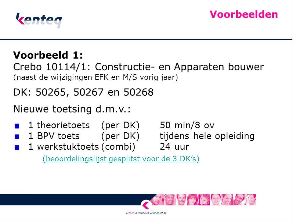Voorbeelden Voorbeeld 1: Crebo 10114/1: Constructie- en Apparaten bouwer (naast de wijzigingen EFK en M/S vorig jaar) DK: 50265, 50267 en 50268 Nieuwe toetsing d.m.v.: 1 theorietoets (per DK)50 min/8 ov 1 BPV toets (per DK)tijdens hele opleiding 1 werkstuktoets(combi)24 uur (beoordelingslijst gesplitst voor de 3 DK's) (beoordelingslijst gesplitst voor de 3 DK's)