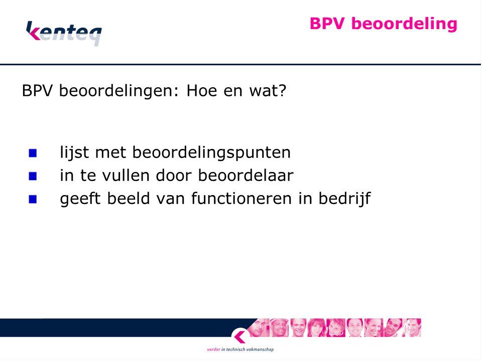BPV beoordeling BPV beoordelingen: Hoe en wat.