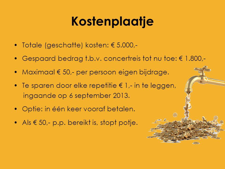 Kostenplaatje Totale (geschatte) kosten: € 5.000,- Gespaard bedrag t.b.v. concertreis tot nu toe: € 1.800,- Maximaal € 50,- per persoon eigen bijdrage