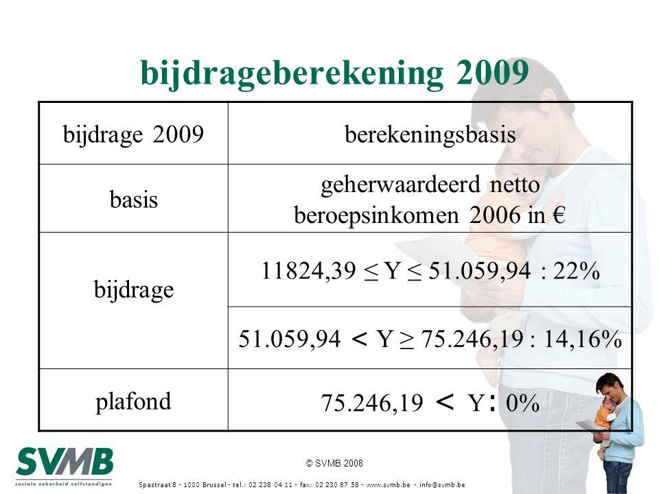 © SVMB 2008 Spastraat 8 - 1000 Brussel - tel.: 02 238 04 11 - fax: 02 230 87 58 - www.svmb.be - info@svmb.be bijdrageberekening 2009 bijdrage 2009bere