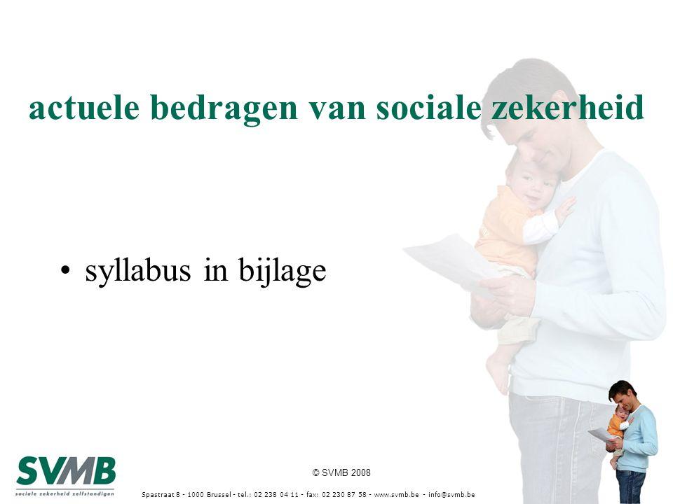 © SVMB 2008 Spastraat 8 - 1000 Brussel - tel.: 02 238 04 11 - fax: 02 230 87 58 - www.svmb.be - info@svmb.be hypothese netto beroepsinkomsten (nY) 2010 € 15.000 2011 € 20.000 2012 € 30.000 * met het nY van 2009 wordt geen rekening gehouden