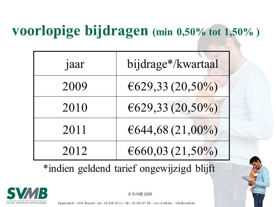 © SVMB 2008 Spastraat 8 - 1000 Brussel - tel.: 02 238 04 11 - fax: 02 230 87 58 - www.svmb.be - info@svmb.be voorlopige bijdragen (min 0,50% tot 1,50%