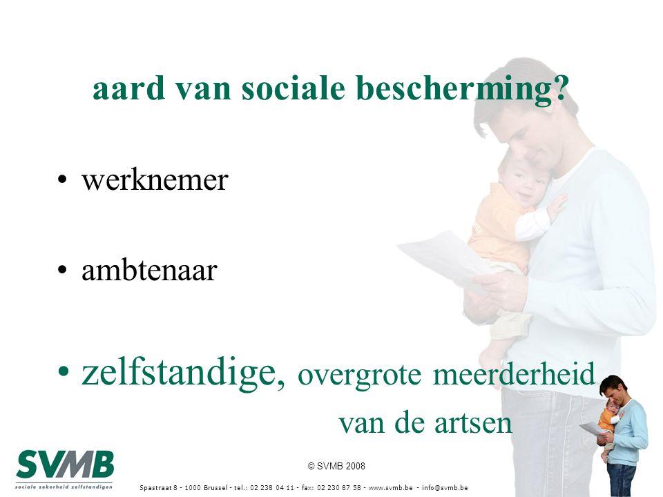 © SVMB 2008 Spastraat 8 - 1000 Brussel - tel.: 02 238 04 11 - fax: 02 230 87 58 - www.svmb.be - info@svmb.be berekeningsbasis van de (definitieve) sociale bijdrage = netto beroepsinkomen van 3 jaren terug inkomstenvoorwaarde: enkel netto beroepsinkomen van een volledig burgerlijk jaar van zelfstandige activiteit in dezelfde hoedanigheid indexaanpassing berekeningsbasis