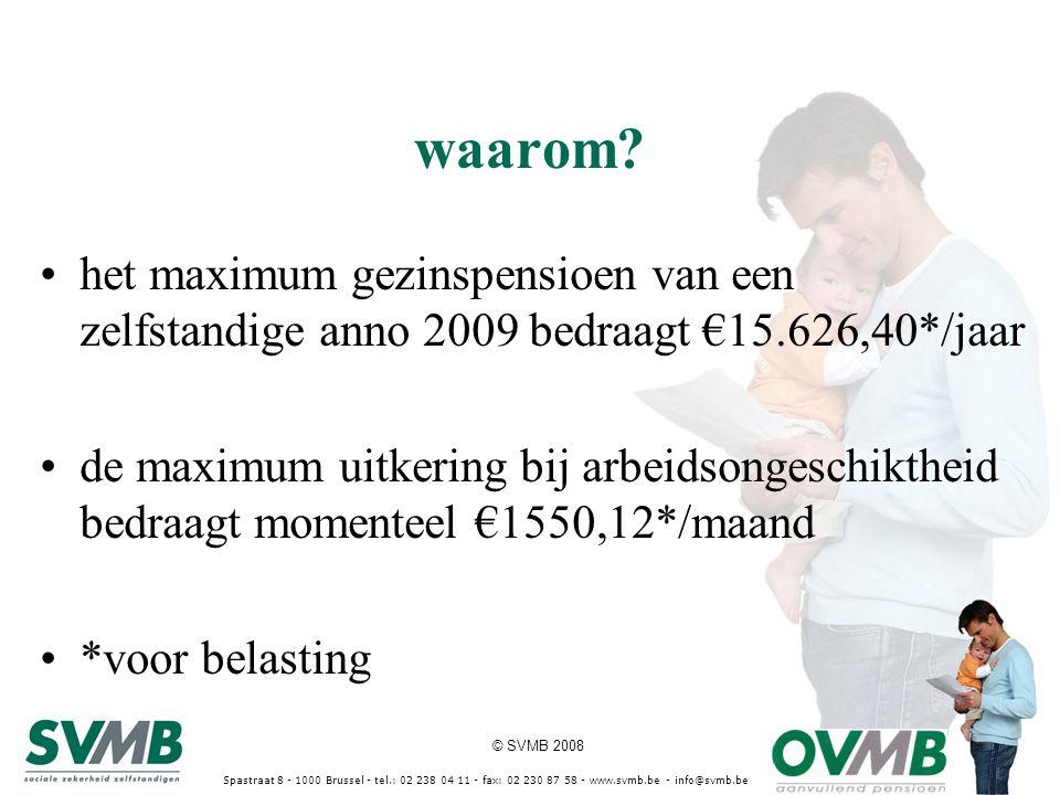 © SVMB 2008 Spastraat 8 - 1000 Brussel - tel.: 02 238 04 11 - fax: 02 230 87 58 - www.svmb.be - info@svmb.be waarom? het maximum gezinspensioen van ee