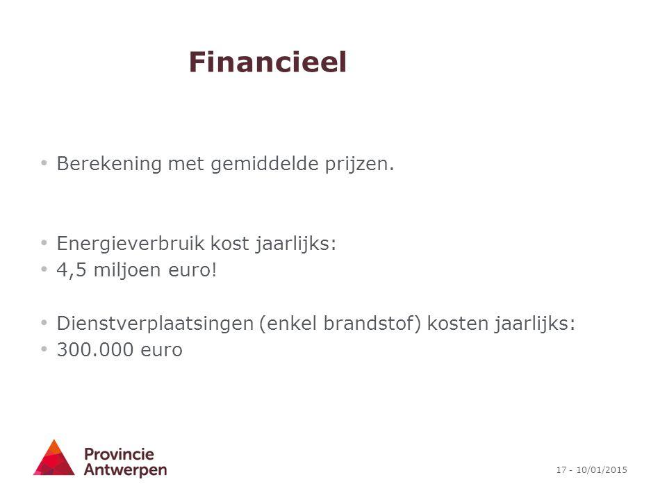 17 - 10/01/2015 Financieel Berekening met gemiddelde prijzen. Energieverbruik kost jaarlijks: 4,5 miljoen euro! Dienstverplaatsingen (enkel brandstof)