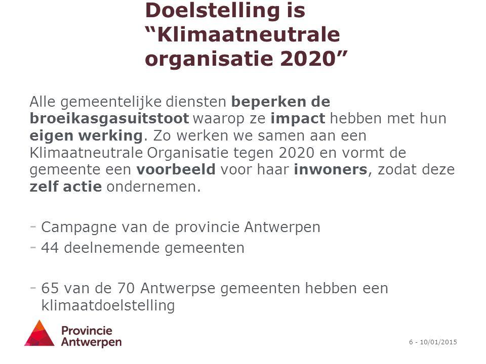 """6 - 10/01/2015 Doelstelling is """"Klimaatneutrale organisatie 2020"""" Alle gemeentelijke diensten beperken de broeikasgasuitstoot waarop ze impact hebben"""