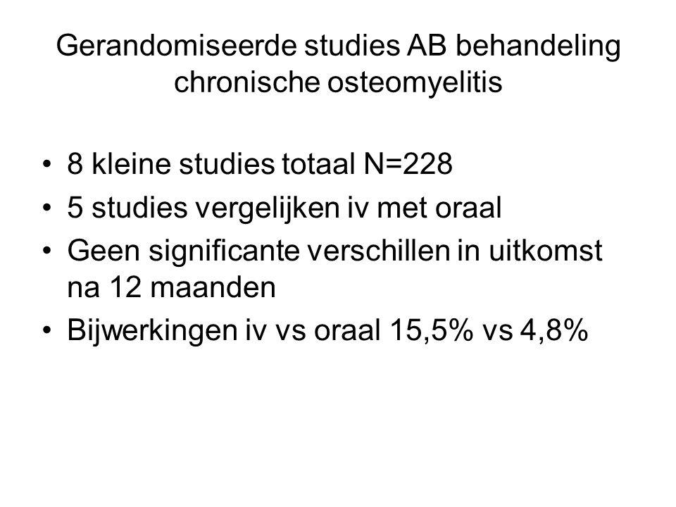 Gerandomiseerde studies AB behandeling chronische osteomyelitis 8 kleine studies totaal N=228 5 studies vergelijken iv met oraal Geen significante ver
