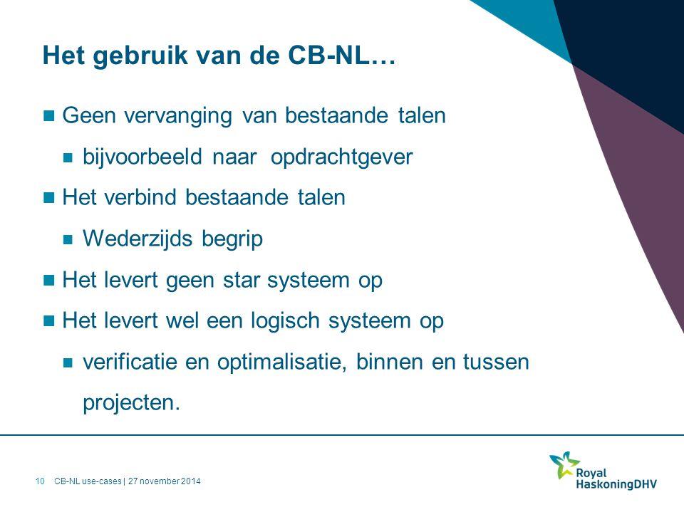 CB-NL use-cases | 27 november 2014 Het gebruik van de CB-NL… Geen vervanging van bestaande talen bijvoorbeeld naar opdrachtgever Het verbind bestaande