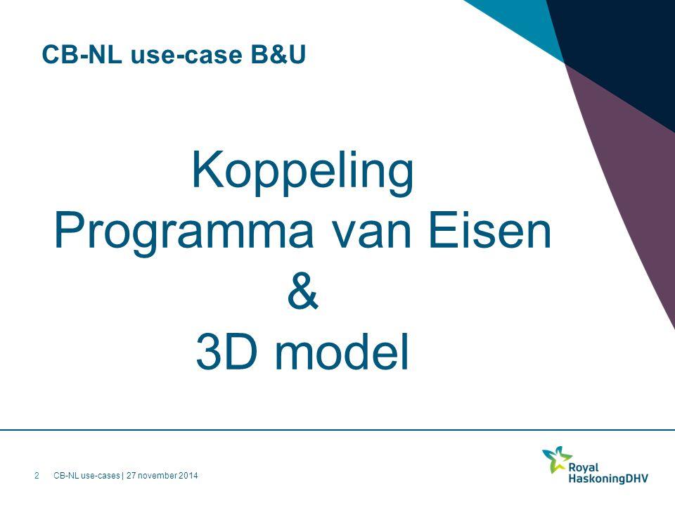CB-NL use-cases | 27 november 2014 CB-NL use-case B&U Koppeling Programma van Eisen & 3D model 2