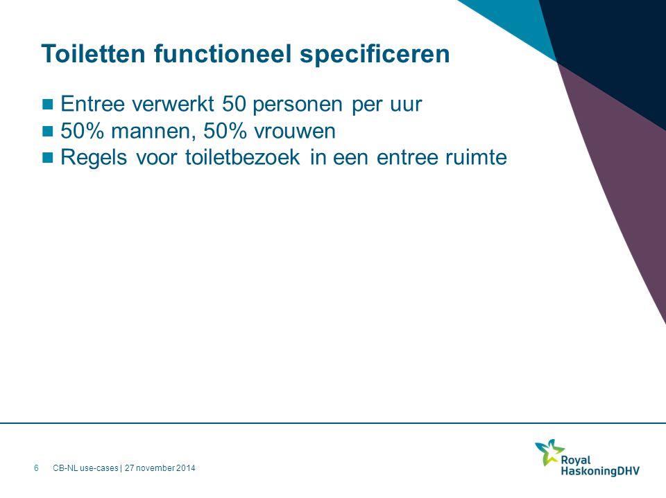 CB-NL use-cases | 27 november 2014 Toiletten functioneel specificeren Entree verwerkt 50 personen per uur 50% mannen, 50% vrouwen Regels voor toiletbezoek in een entree ruimte 6