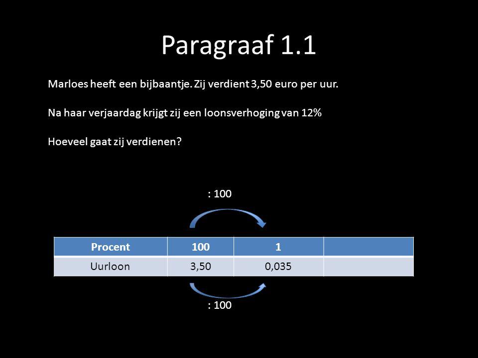 Paragraaf 1.1 Marloes heeft een bijbaantje. Zij verdient 3,50 euro per uur. Na haar verjaardag krijgt zij een loonsverhoging van 12% Hoeveel gaat zij