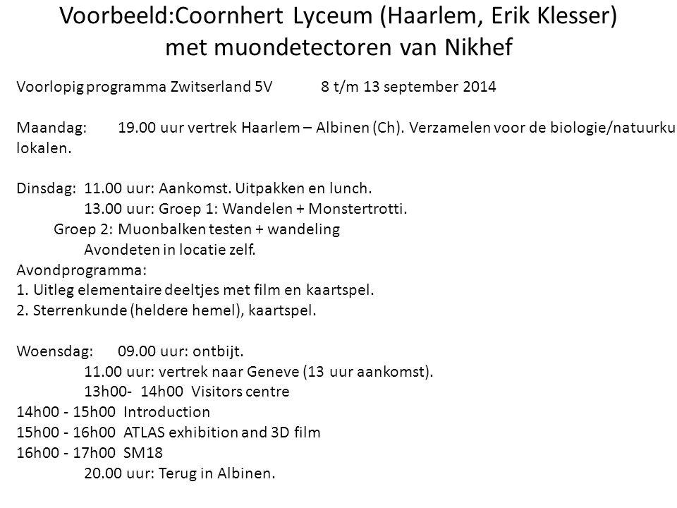 Voorbeeld:Coornhert Lyceum (Haarlem, Erik Klesser) met muondetectoren van Nikhef Voorlopig programma Zwitserland 5V8 t/m 13 september 2014 Maandag:19.