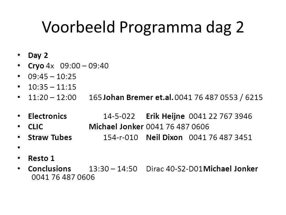 Voorbeeld Programma dag 2 Day 2 Cryo4x09:00 – 09:40 09:45 – 10:25 10:35 – 11:15 11:20 – 12:00165Johan Bremer et.al.0041 76 487 0553 / 6215 Electronics