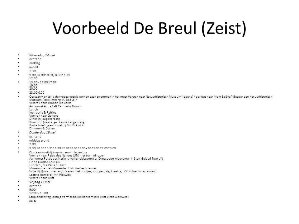 Voorbeeld De Breul (Zeist) Woensdag 14 mei ochtend middag avond 7.30 9.00 / 8.00 10.00 / 8.30 11.30 12.30 13.30 - 17.00 17.30 19.00 20.00 23.00 0.00 O