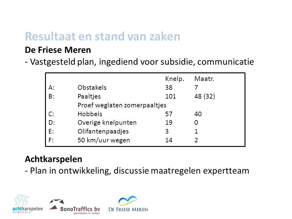 Resultaat en stand van zaken De Friese Meren - Vastgesteld plan, ingediend voor subsidie, communicatie Achtkarspelen - Plan in ontwikkeling, discussie maatregelen expertteam Knelp.Maatr.
