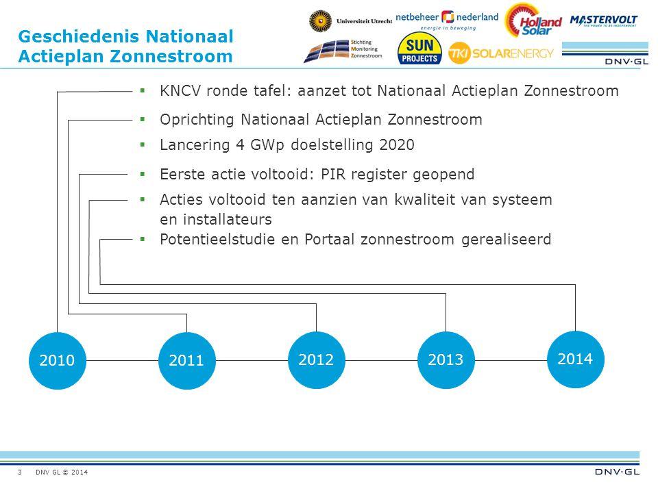 DNV GL © 2014 Geschiedenis Nationaal Actieplan Zonnestroom 3 20102011 20122013 2014  KNCV ronde tafel: aanzet tot Nationaal Actieplan Zonnestroom  O